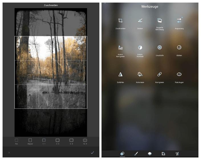 Pixlr Mobile: Benutzermenü der Android-Version
