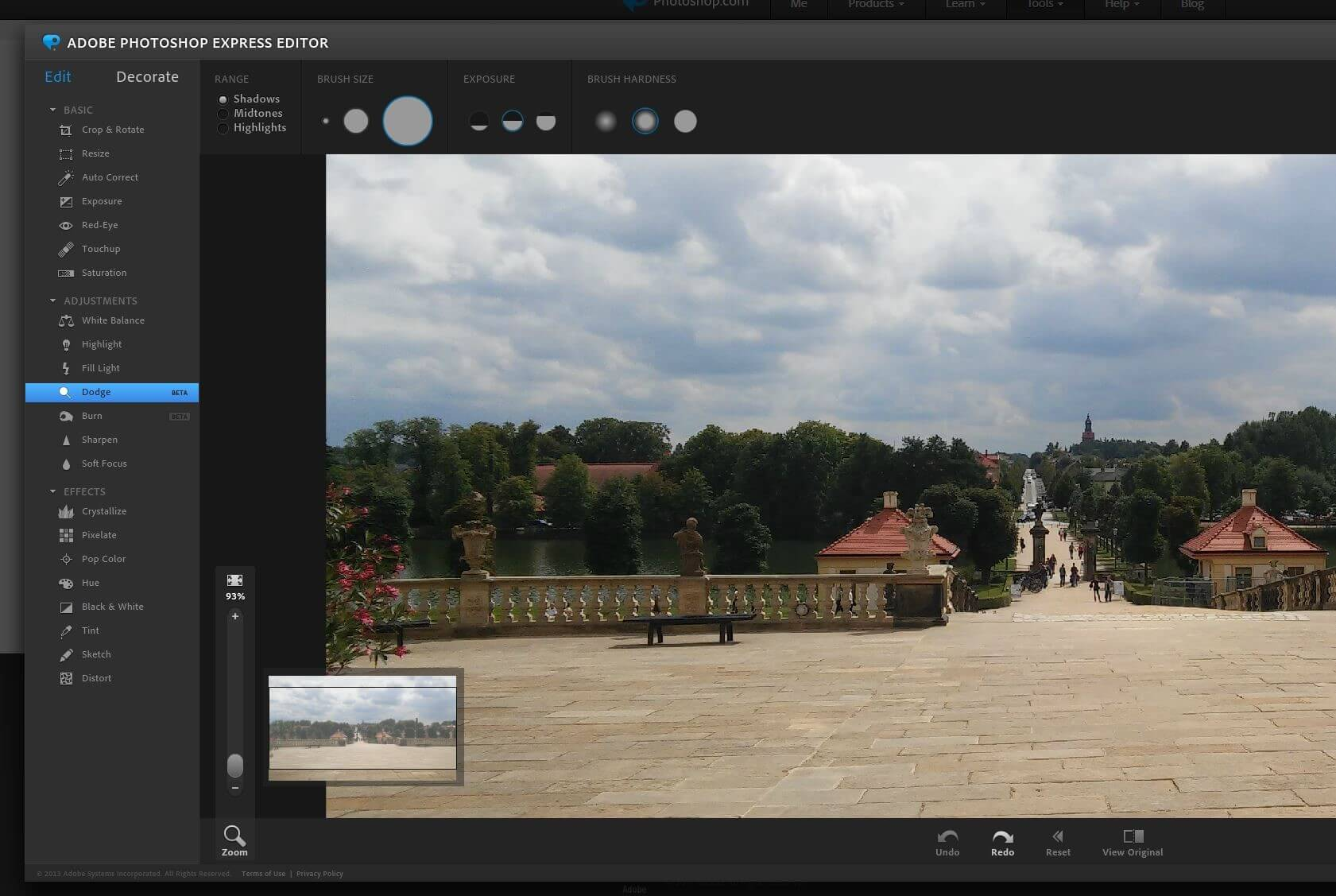 Browserversion des Photoshop Express Editor