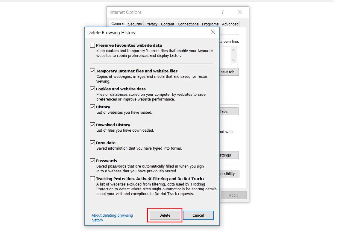 Internet Explorer:? Browserverlauf löschen? Dialog